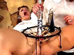 Bloody breast beating skewering pussy sewing