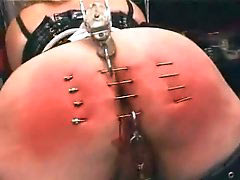 Ass pricked with needles